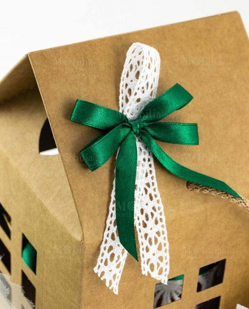 bomboniera portapianta vetro con ricamo dettaglio fiocco verde su scatola casetta cartoncino