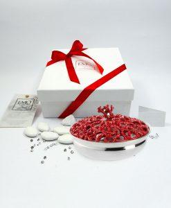 bomboniera scatola traforata piccola corallo rosso emò