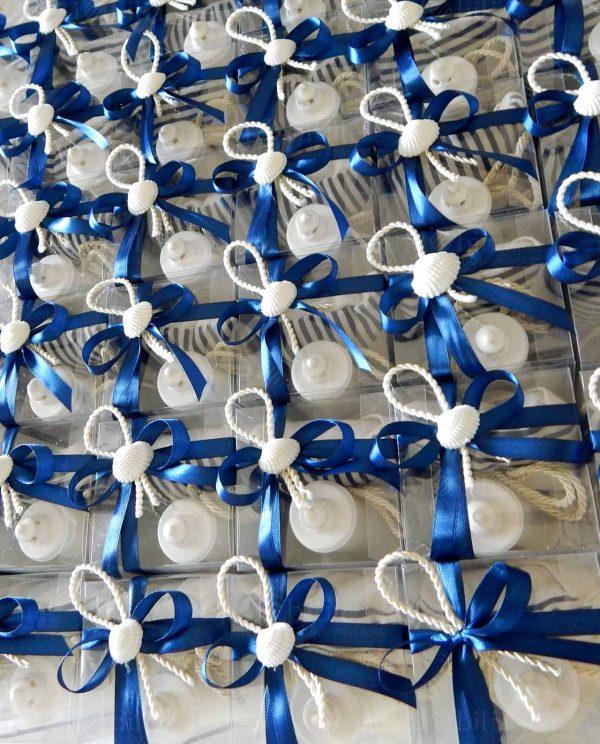 bomboniera faro con sacchettino rigato e scatola con natri blu