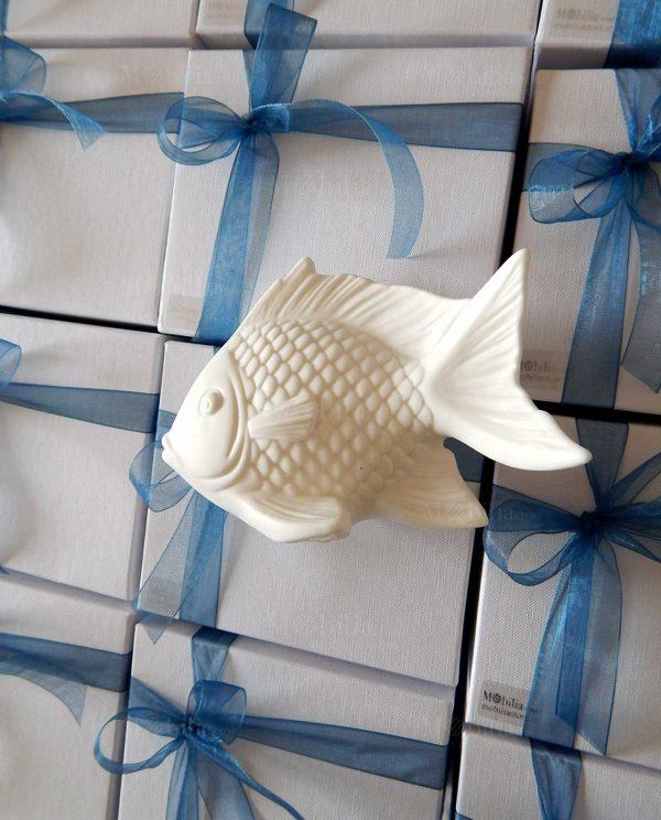 pesce ceramica led con scatola in cartoncino