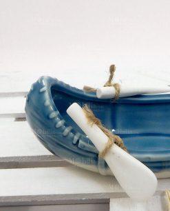 canoa ceramica bianca e blu linea summer ad emozioni