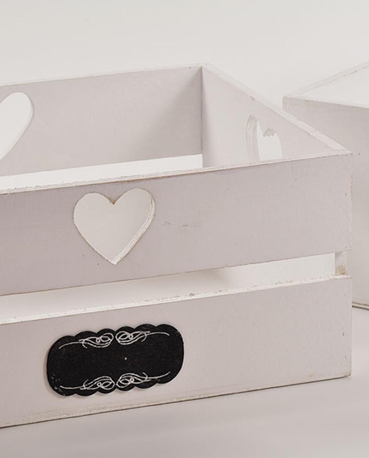 Cassette in legno con cuori shabby chic set 3 mobilia for Mobilia lavagna