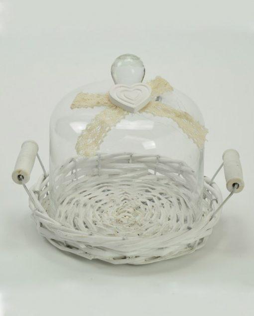 cestino con cupola in vetro