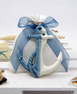 ciondolo ancora ceramica bianco blu
