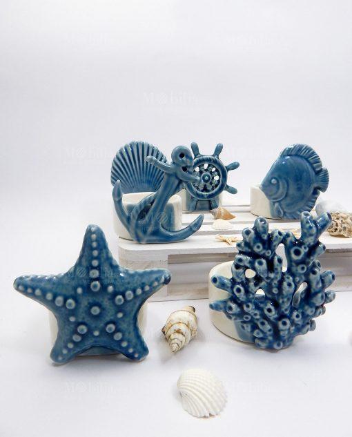 collezione porta candele tema mare blu assortita