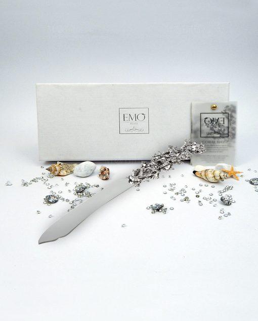 coltello torta argentato corallo emò