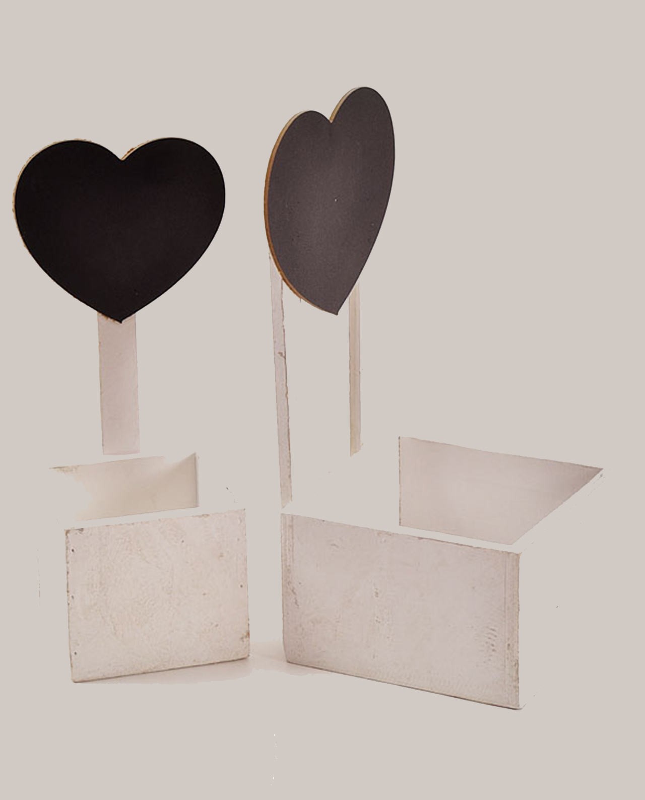 contenitori in legno con lavagna a cuore set 2 pezzi