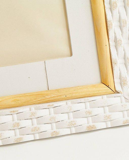 cornice portafoto in legno bianco e bambù