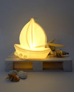 lampada barca a vela led in ceramica ad emozioni
