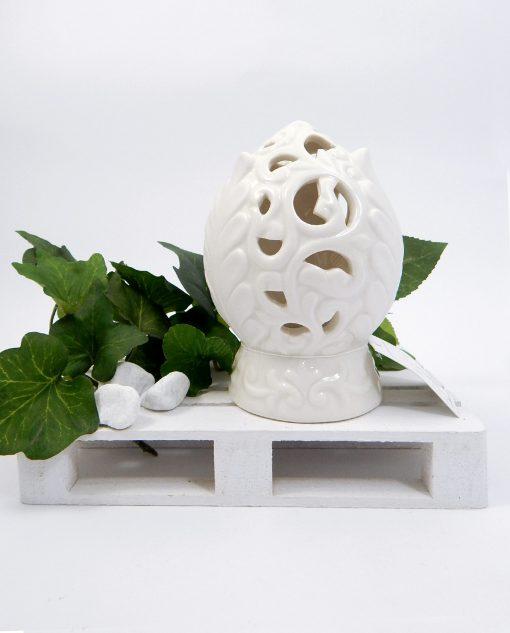 pigna in porcellana bianca con led linea pomona ad emozioni