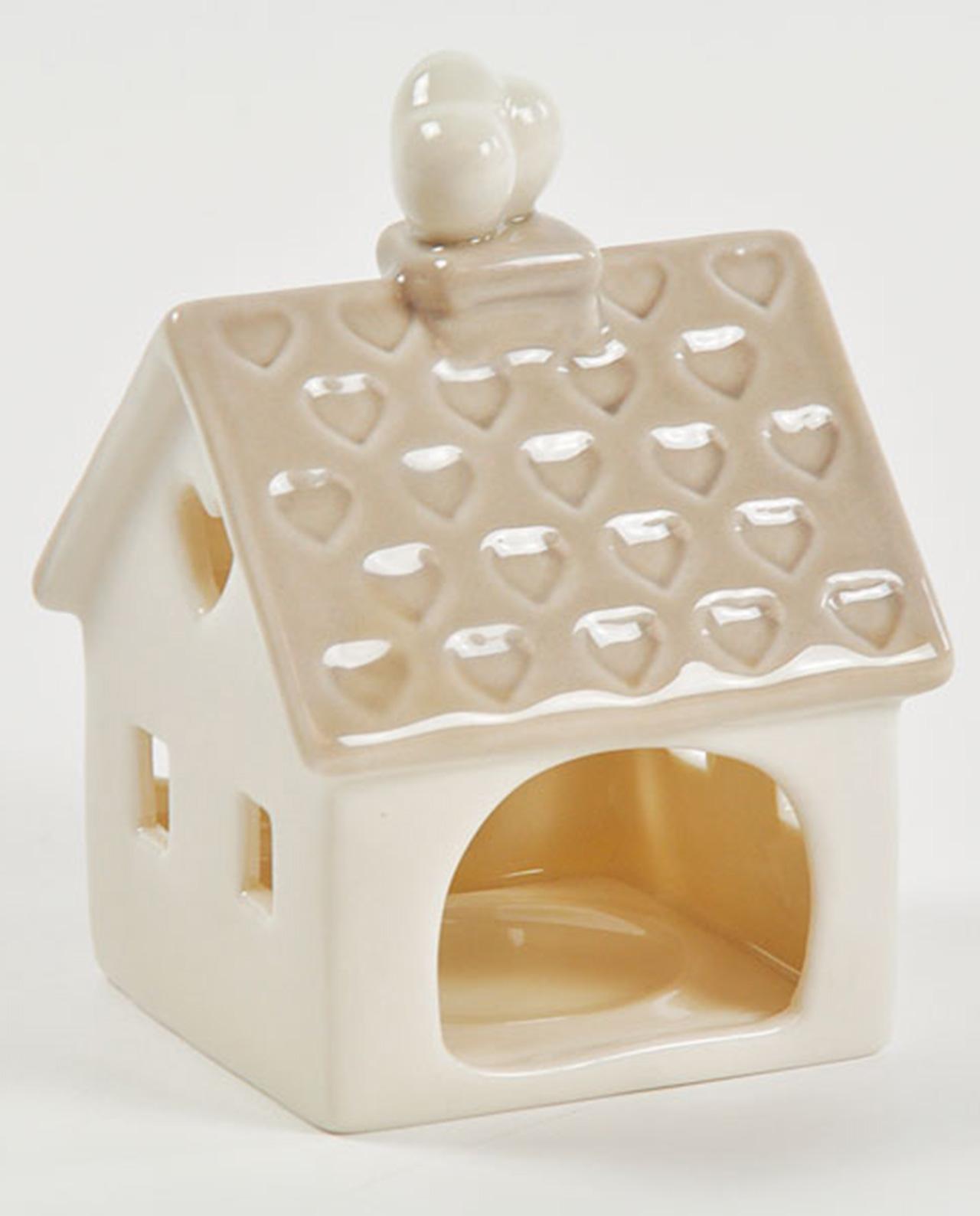 Porta candela in porcellana a forma di casa e cuori for Piani quadrati a forma di casa