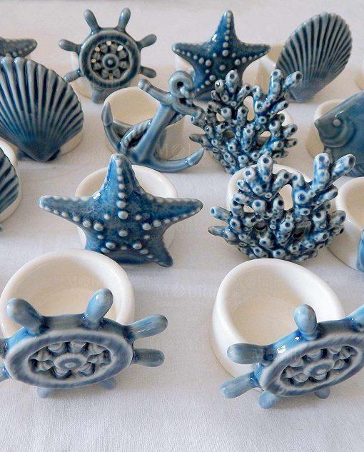 portacandela porcellana con soggetti tema mare blu linea summer ad emozioni