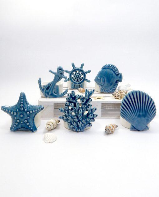 portacandele blu in porcellana tema mare ad emozioni