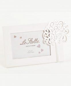 portafoto bianco con albero