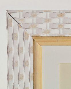 portafoto con cornice in legno bianco intrecciata
