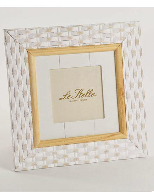 portafoto quadrato di legno bianco