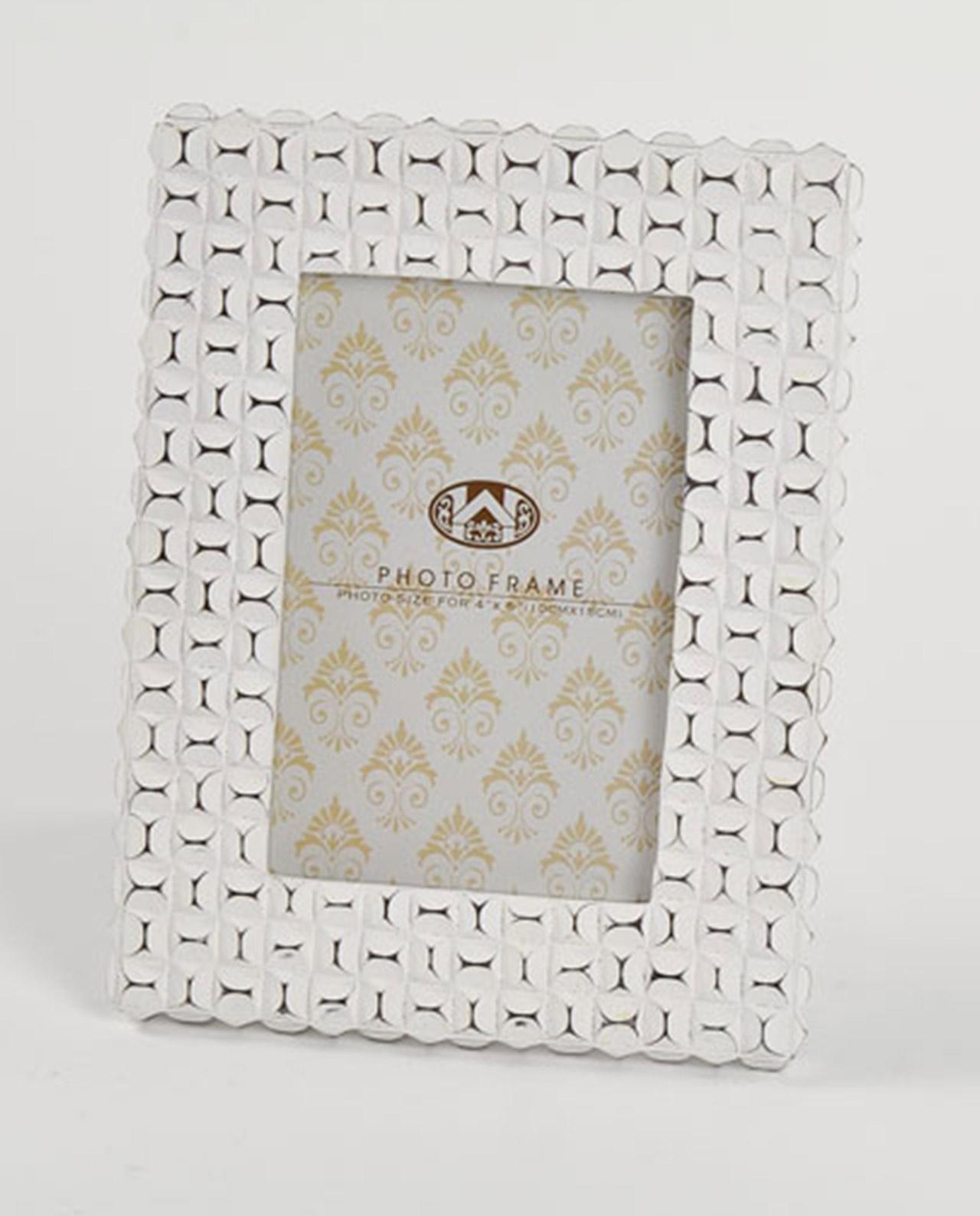 Portafoto in resina bianco con decori a rilievo 2 misure for Mobilia outlet
