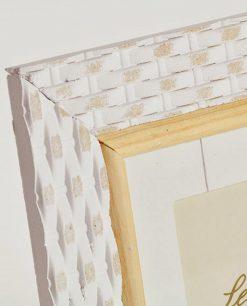 portafotografie quadrati legno bianco e bambù