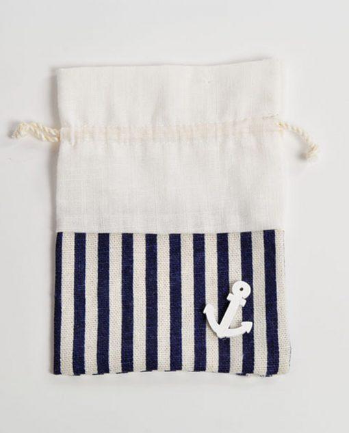 sacchetti porta confetti blu tema mare con ancora