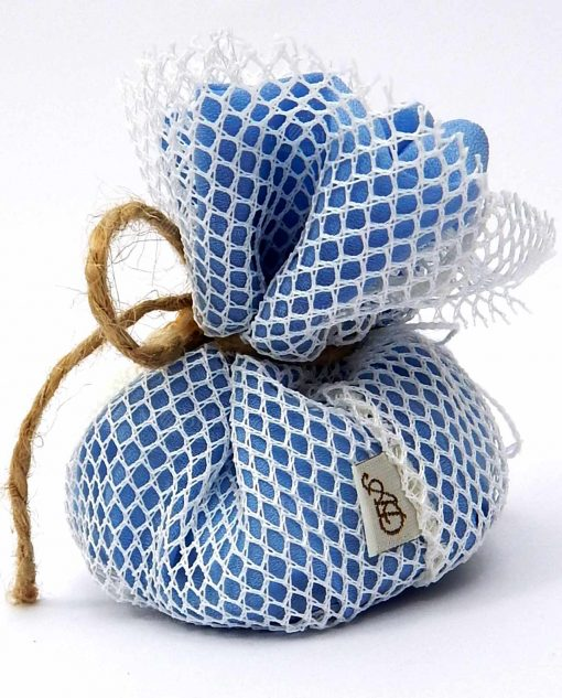 sacchettino puff con rete e conchiglie ad emozioni