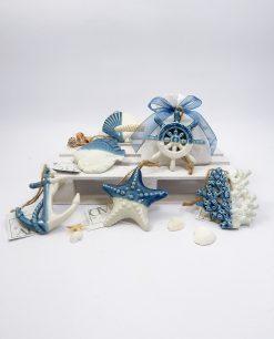 sacchettino tema mare con ciondolo ceramica bianco blu