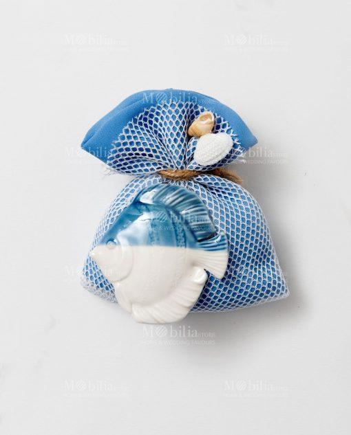 sacchetto bomboniere blu