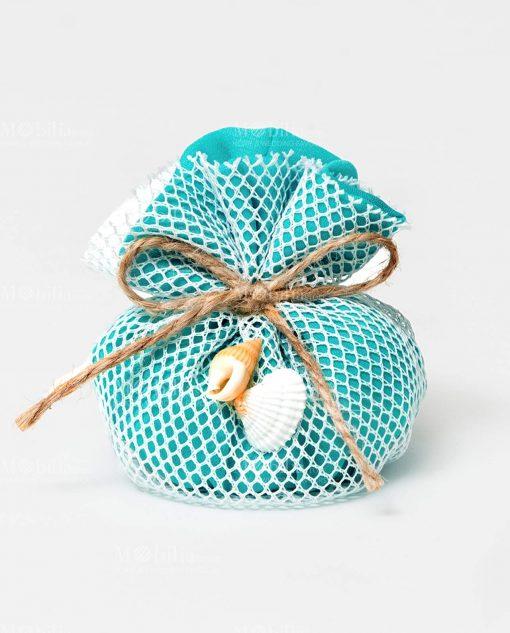sacchetto mare con rete e conchiglie tiffany ad emozioni