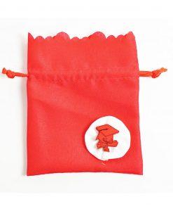 sacchettino cotone rosso con applicazione tocco e ppergamena