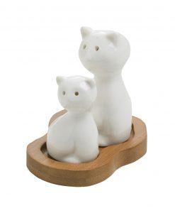 sale e pepe a forma di gatto con supporto in bamboo brandani