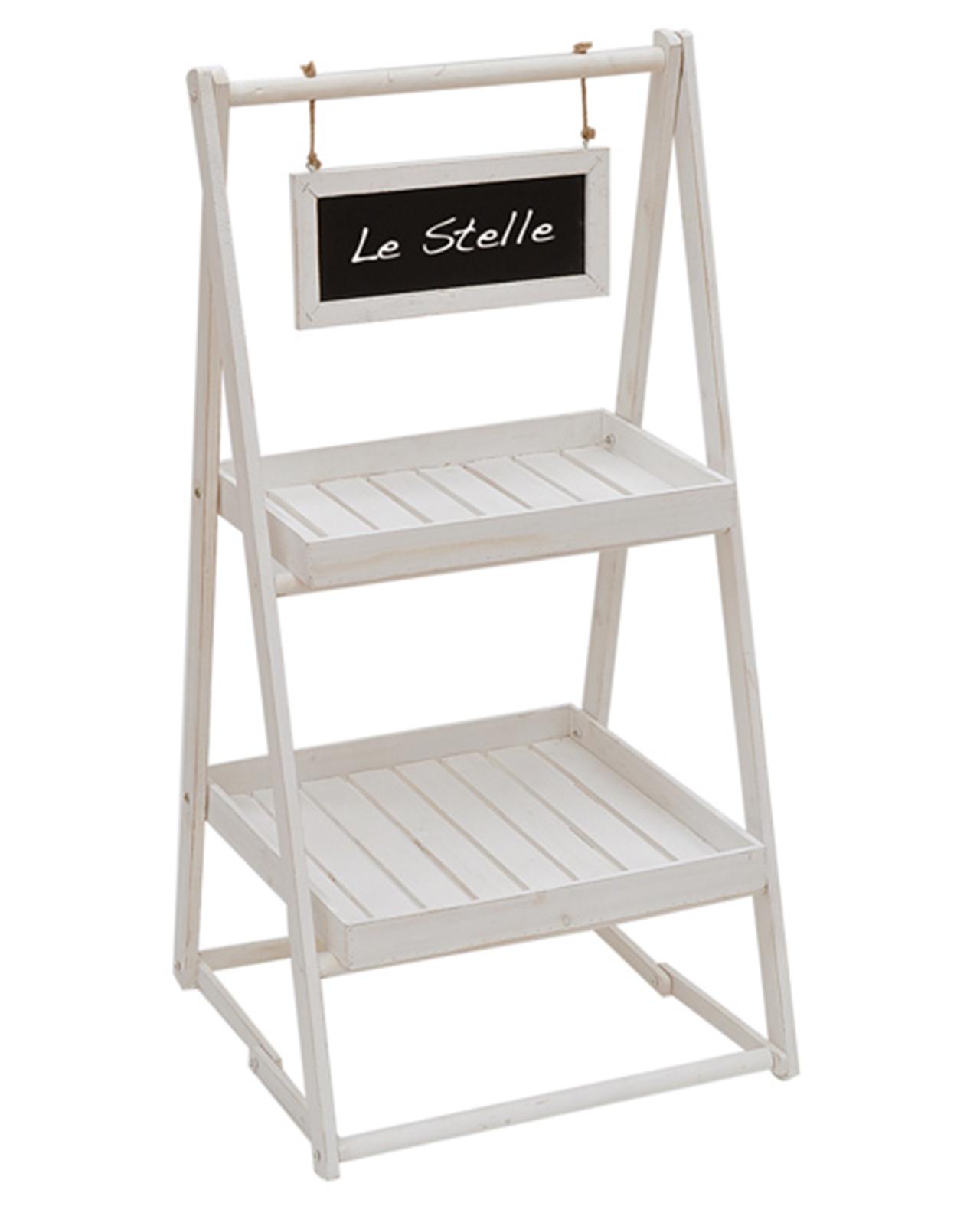 scaletta in legno 2 ripiani con lavagna mobilia store