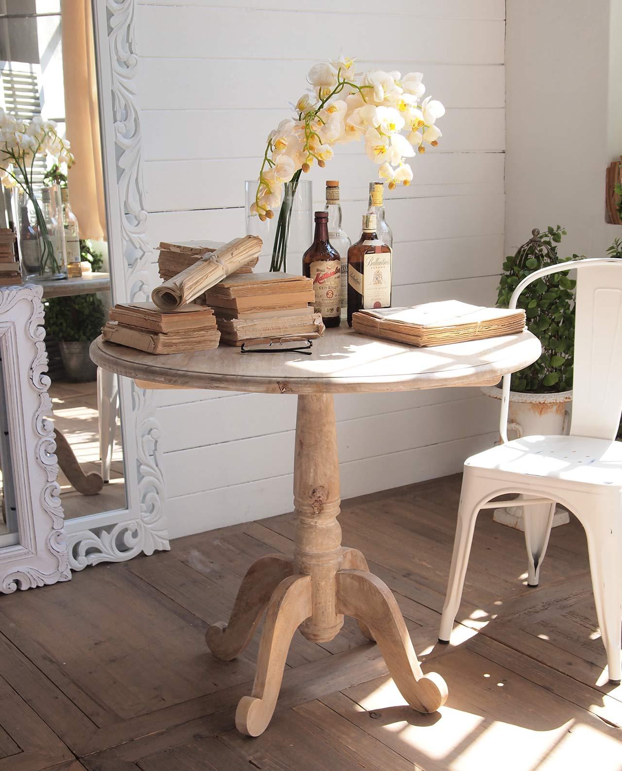 Tavolo rotondo con gamba centrale in legno mobilia store home favours - Tavolo rotondo con piede centrale ...