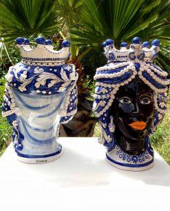 testa di moro regina con turbante e orecchine teste di moro ceramica di caltagirone