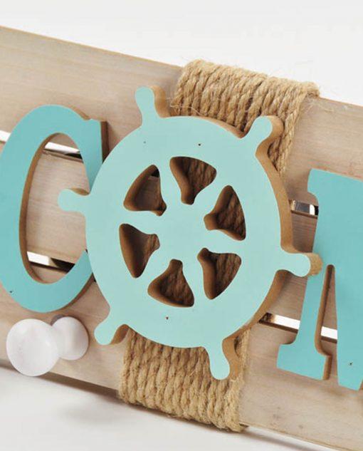 welcome in legno azzurro