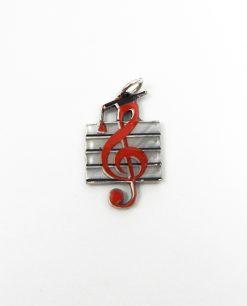 Ciondolo chiave di violino in argento e smalto tabor