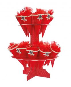alzata-con-coni-portaconfetti-rossi