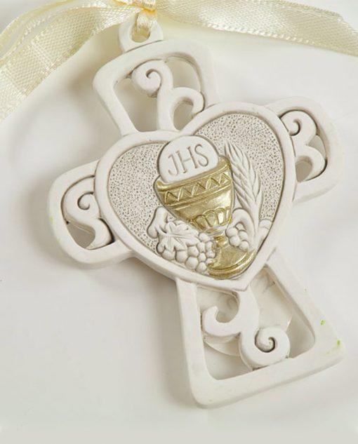 appendino croce con cuore uva e calice eucaristico oro