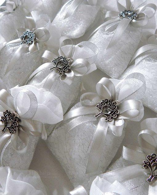 bomboniera ciondolo albero della vita cuore su sacchetto fili argento
