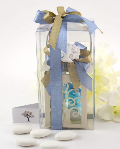 bomboniera lanterna albero della vita con fiocchi gessetto e scatola pvc