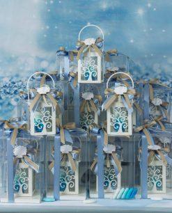 bomboniera lanterna albero della vita con led scatola trasparente e gessetto