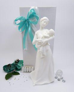 bomboniera maternità con bambino in braccio porcellana bianca con luce led