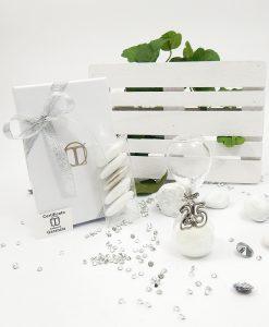 bomboniera nozze argento clessidra con ciondolo 25 tabor