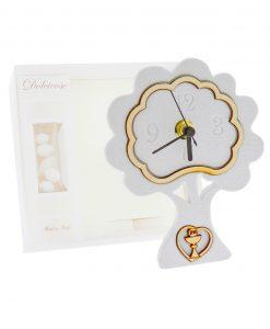bomboniera orologio albero bianco con cuore calice