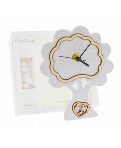 bomboniera orologio albero bianco con cuore sacra famiglia