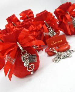 bomboniera portachiavi su sacchetto rosso tabor