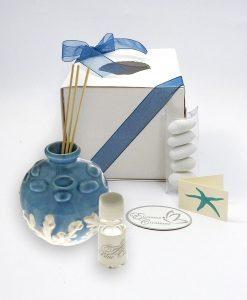 diffusore con bastoncini porcellana blu con coralli in rilievo