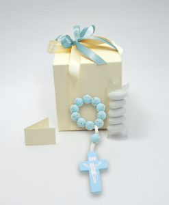 bomboniera rosario bracciale azzurro con strass