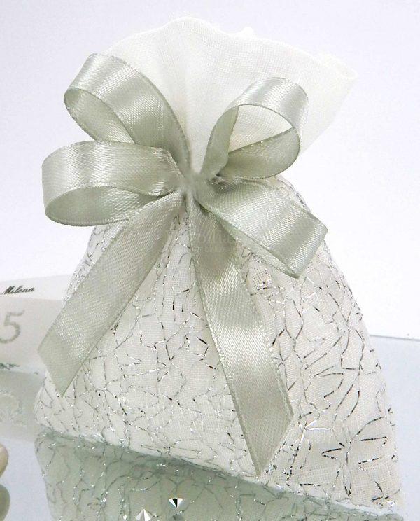 sacchettino con fili argento e fiocchi grigi