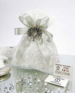 bomboniera sacchetto argento per 25 anniversario