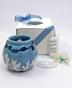 bomboniera secchiello portacandele in ceramica blu grande