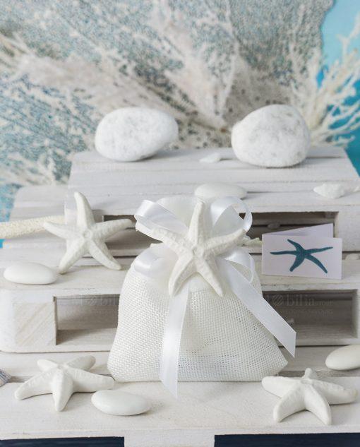 bomboniera tema mare sacchettino bianco con magnete stella marina bianca